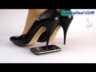 Crushing an iphone with high stiletto heels
