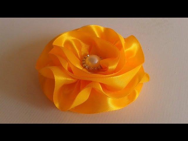 Flor de Fita De Cetim Satin Ribbon Flower