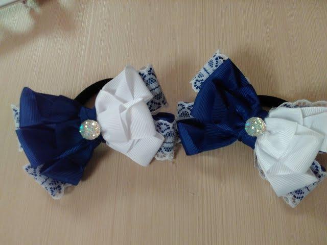 Бантики в школу из лент 2,5 см Канзаши МК / Ribbon school ribbon 2.5 cm Kanzashi MK