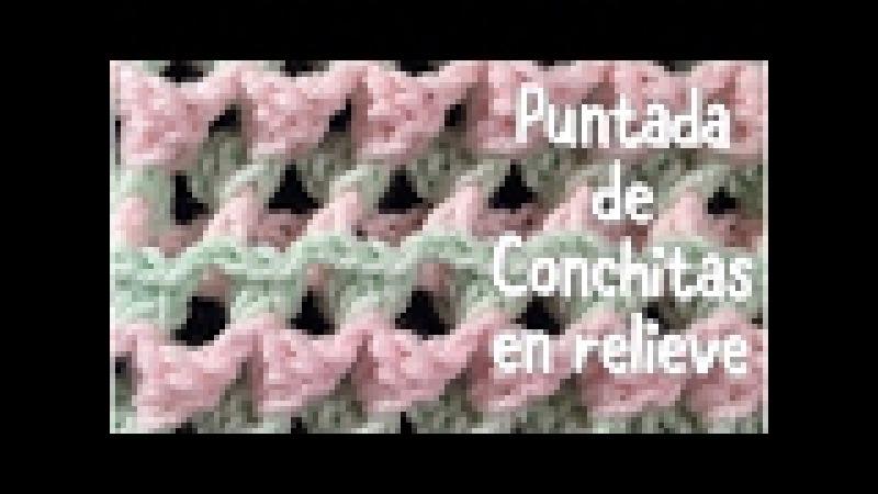 Puntada de conchitas en relieve en dos colores para mantas de bebe en gancho 46