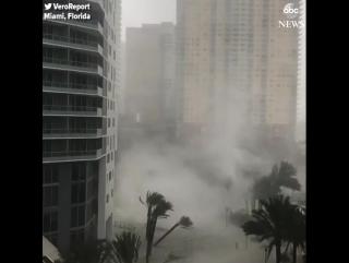 Вихрь на затопленной улице в Майами, штат Флорида, США (10.09.2017)