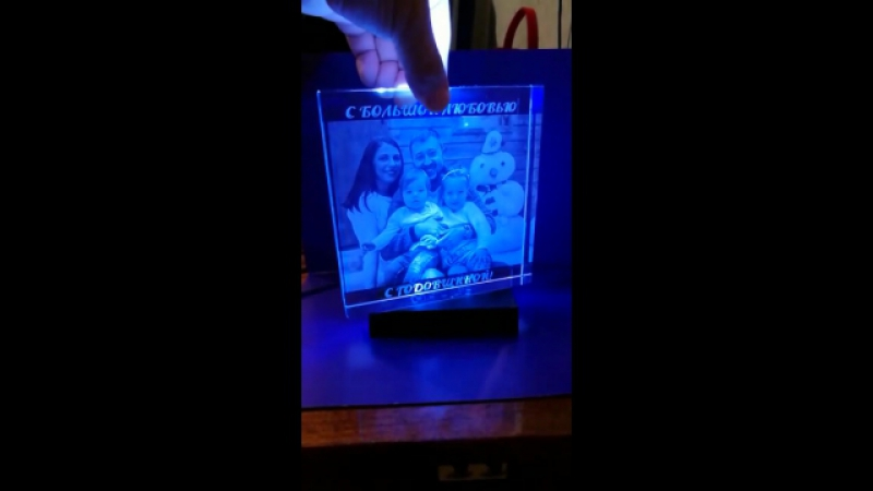 Кристалл 15*15*3 с гравировкой фотографии внутри стекла. Фото в стекле. Подарок на день рождения, свадьбу годовщину