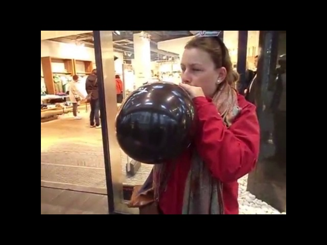 Balloon girl blowing to cheat pop