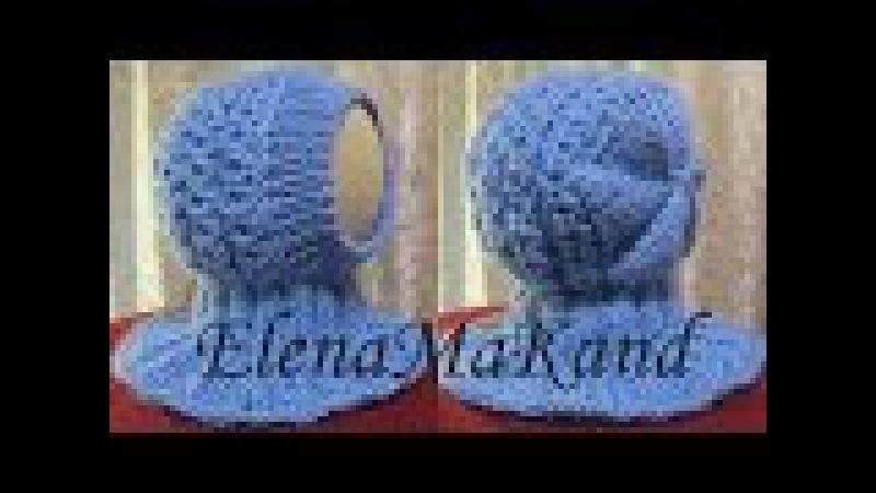 Шапка-Шлем Спицами до года Часть 4. Kid's knited Hoodie-hat.