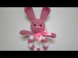 Зайка из пряжи-игрушка.Вязаный зайчишка амигуруми.Зайчик Шнуфель-крючком.