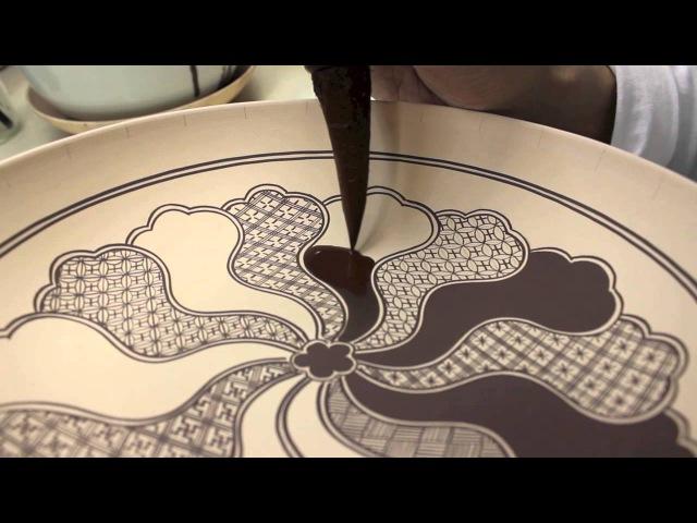 """上出長右衛門窯の祥瑞画法/""""Incomplete CircleDrawing and Painting Kutani Shonzui"""
