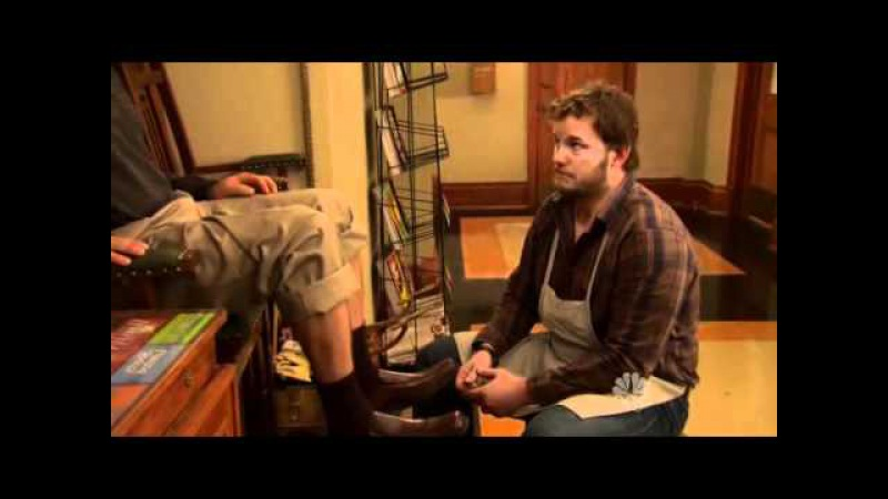 Parks and Recreation: Ron gets a shoeshine from Andy