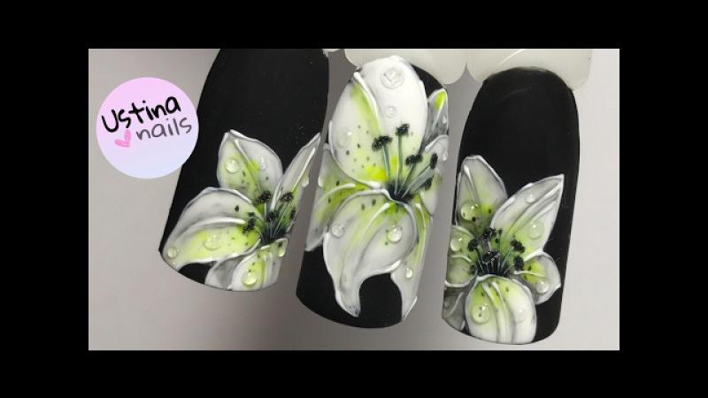 Фото дизайн ногтей лилии