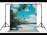 Life Magic Box Vinyl Cloud Backdrop Photo Backdrop Coconut Tree Sea Backdrops Summer Pictures Backgrounds Water Background