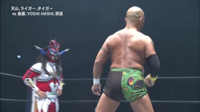 Hirooki Goto, Jado, YOSHI-HASHI vs. Hiroyoshi Tenzan, Jushin Thunder Liger, Tiger Mask (NJPW - Destruction In Hiroshima 2017)
