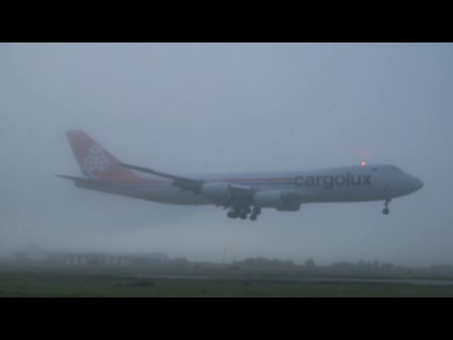 Туман. Посадка Cargolux LX-VCL Boeing 747-8R7(F) в OVB