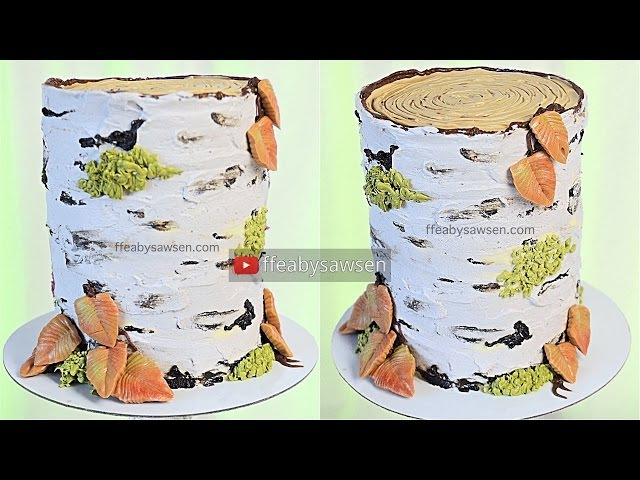 All buttercream birch tree stump cake decorating tutorial - relaxing, satisfying birch tree cake