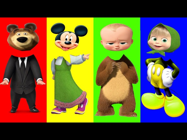 Wrong Heads Masha Bears Mickey Mouse Boss Baby Finger Family song Learn Colors For Kids