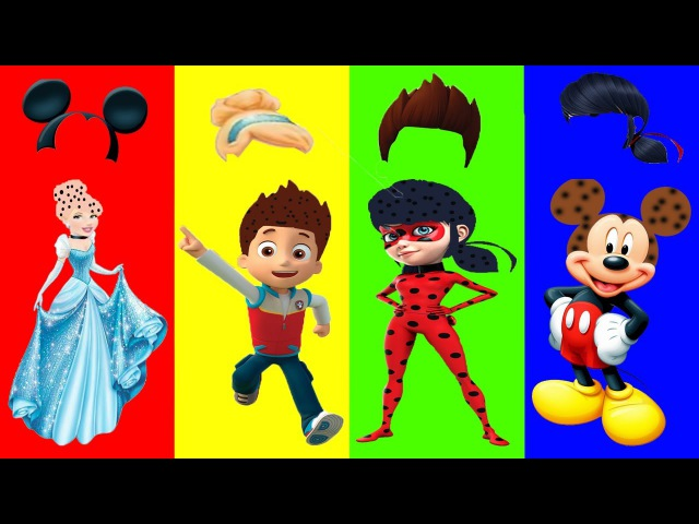 Wrong Hairs Disney Princess Paw Patrol Ladybug Mickey Mouse Finger Family Song Nursery Rhymes