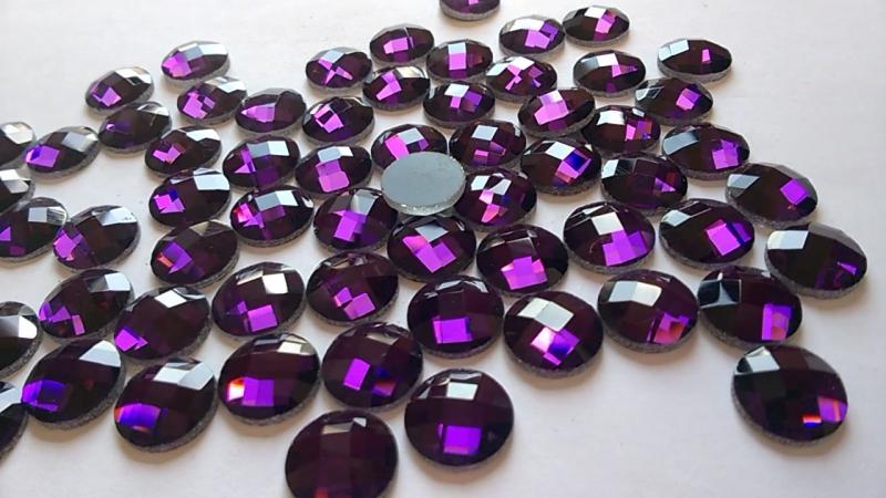Камни из стекла не пришивные, круглые, Purple, 12 мм