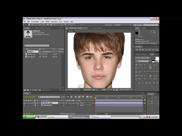 Adobe After Effects CS4 Tutorial. Face Morph - Justin Bieber to William Hung