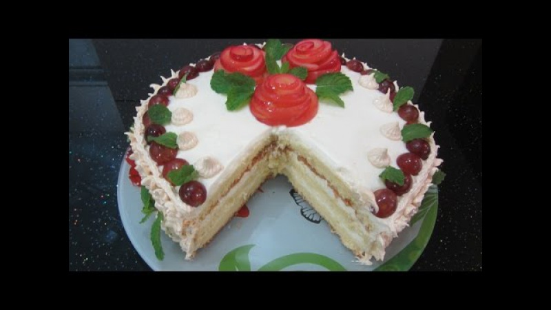 Торт Нежность hướng dẫn làm bánh kem sinh nhật Duyên Dáng dạy làm gato bông lan Trang trí hoa hồng