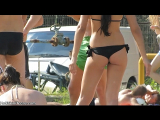 Sexy bikini teens with hot ass micro thongs tanning