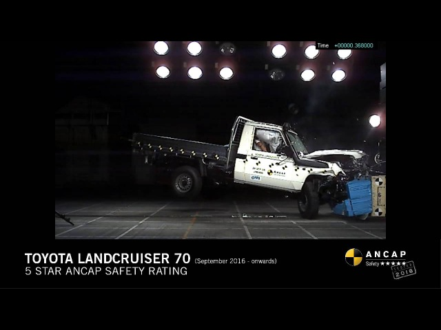 ANCAP CRASH TEST Toyota Landcruiser 70 single cab chassis (Sept 16 - onwards) frontal offset test