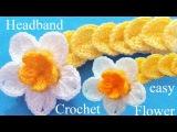 Como tejer a Crochet diadema con flor en punto de medallones
