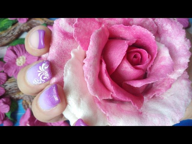 Большая двухцветная роза из солёного теста. Modeling a rose from a salted dough.