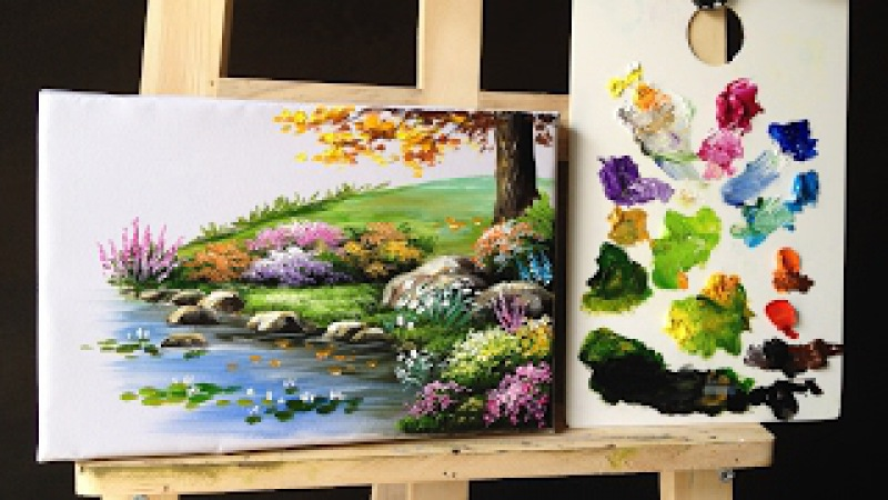 How to paint bushes flowers lesson 2