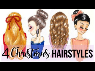 HOW TO DRAW 4 CHRISTMAS HAIRSTYLES!!!