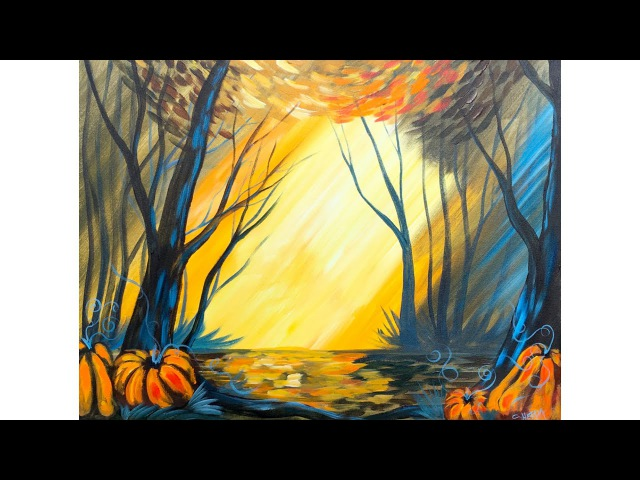 Fall Forest with pumpkins Step by Step Acrylic Beginners painting lesson