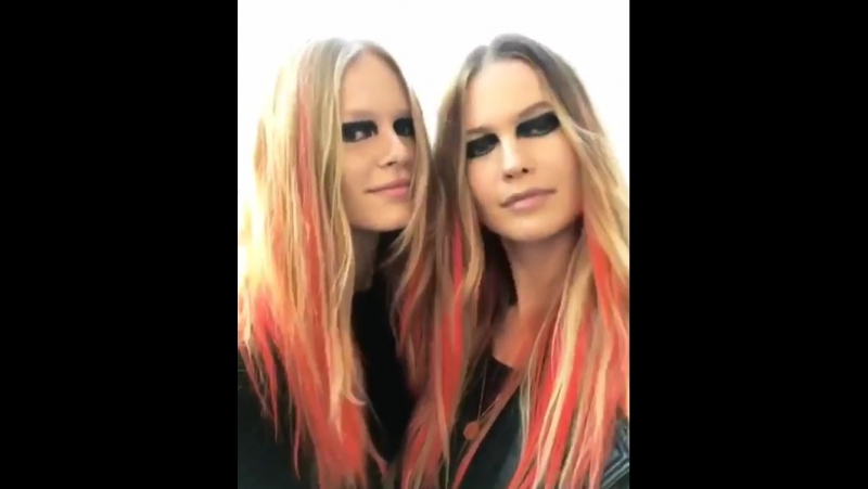 Behati Prinsloo and Anna Ewers at backstage for Versace Ready To Wear Fall 2017 during MFW