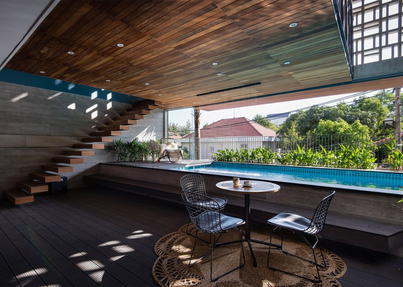 H House features a geometric patterned facade and an indoor swimming pool (Part 2)