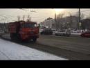 Работа колонны комбинированных дорожных машин, Иркутск, 15 января