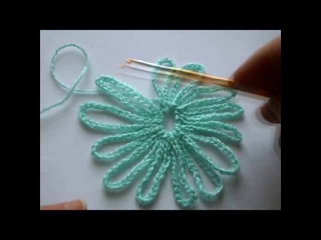 мотив крючком.Round motive crochet.