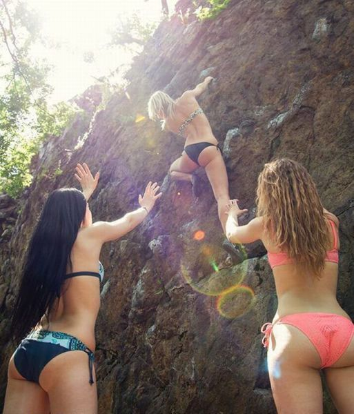 Topless young teens