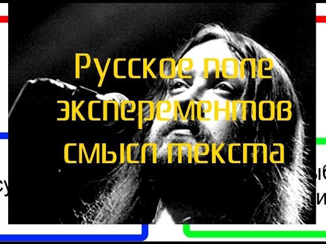 Русское поле экспериментов смысл песни Егора Летова группы Гражданская оборона или ГРоБ легенда