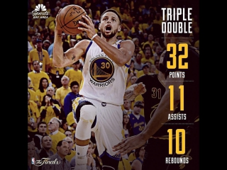Stephen Curry Triple-Double in 2017 Finals Game 2 vs Cavs - 32 Pts, 11 Assists, 10 Rebs, 2 GOOD!