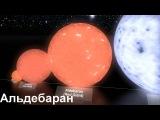 Сравнение размеров небесных тел от Луны до VY Большого Пса