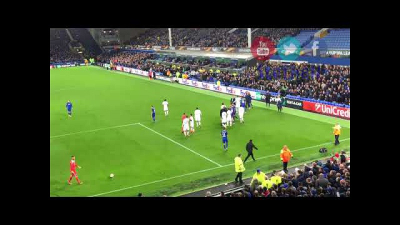 Ashley Williams Shows Everton Don't Let Lyon Players Push Him about. Fight.