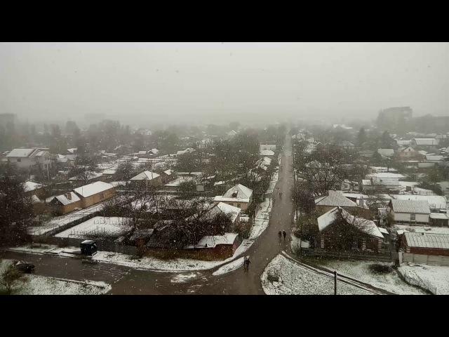 Зима вернулась 21 апреля 2017. Снегопад в Александрии.