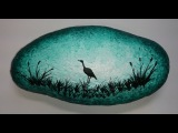Rock painting -- Turquoise sunset and heron silhouette - Acrylic painting