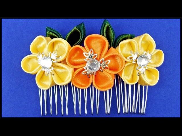 DIY Kanzashi | Stoff Blumen Haarspange | Ribbon flower hair comb | Hair barrette accessories