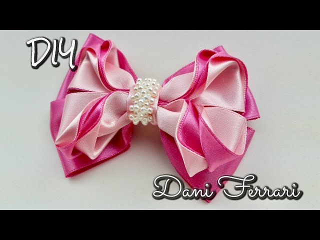 Laço de fita de cetim - Tutorial passo a passo - Ribbon bow hair - Dani Ferrari.