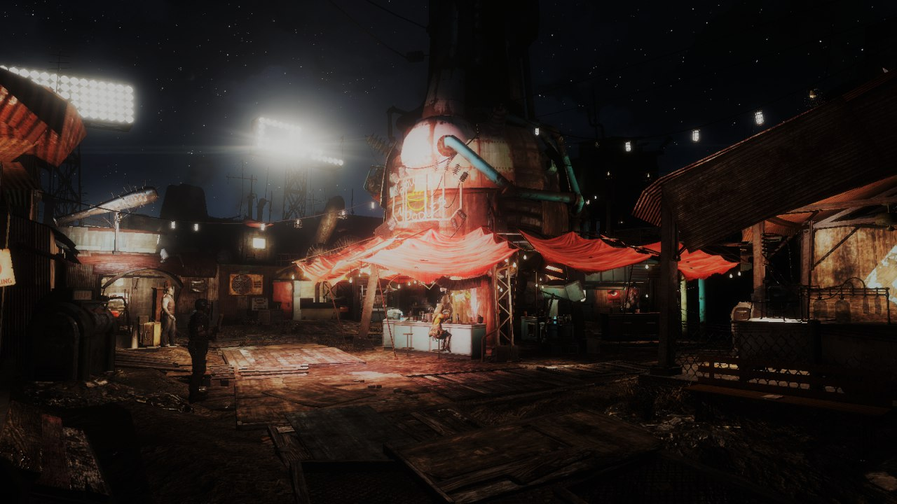 Новый взгляд на ночной Даймонд-сити Fallout4