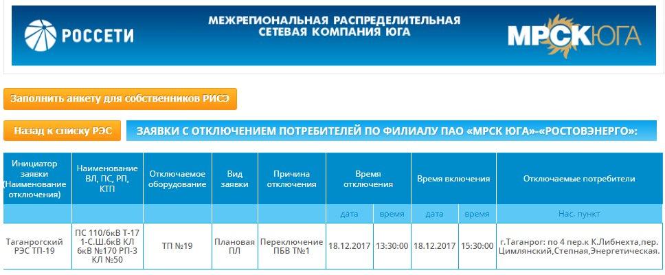 В Таганроге в одном из районов города на несколько часов отключат электричество
