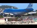 KLM 747 Extreme Jet Blast blowing People away at Maho Beach St Maarten 2014 01 14