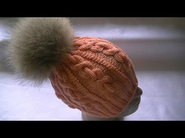 Вязание шапки узором коса-цепь.Итальянский набор петель и полая резинка.