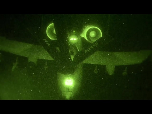 KC-135 Stratotanker Refuels A-10 In the Darkness