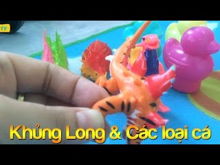 Bóc trứng Khủng long và Đồ chơi câu cá cho trẻ em Surprise Dinosaur eggs and Fishing toys for kids