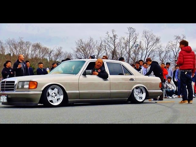 爆音大会 MercedesBenz 126 @Track and show2016 車高短 シャコタン 直管 Lowered exhaust Low car