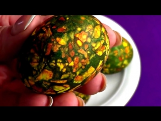 Как покрасить яйца на Пасху. Мраморные яйца. Простой способ. The Decoration of Easter Eggs