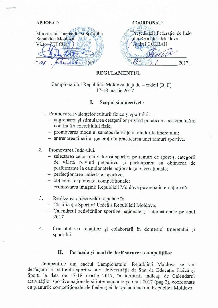 .....# Judo 2017 * Campionatul R.Moldova judo (cadeți) 17-18.03.2017